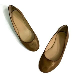 J. CREW Ballet Flats back-zip size 7.5 copper